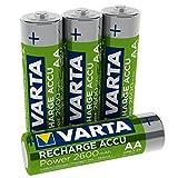 Varta Rechargeable Akku Ready2Use (vorgeladen AA Mignon 2600 mAh Ni-Mh Akku, wiederaufladbar ohne Memory-Effekt, sofort einsatzbereit) 4er Pack