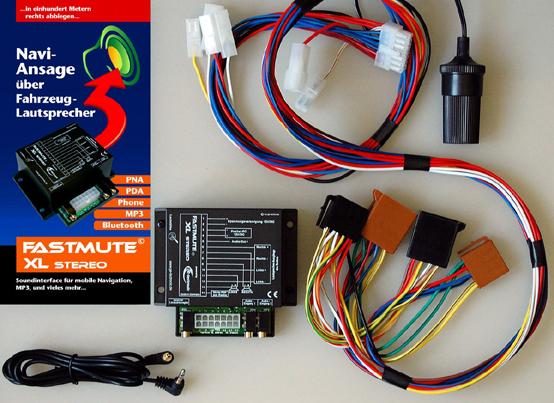 Fastmute XL Stereo - Navi-Ansagen und MP3 über Fahrzeuglautsprecher - Lieferumfang - 1