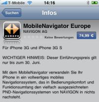 Überraschend schnelle Veröffentlichtung: Der NAVIGON MobileNavigator im Apple AppStore verfügbar.