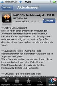 Update 1.7.0 der MobileNavigator Software für das iPhone steht im App Store zum Download bereit...