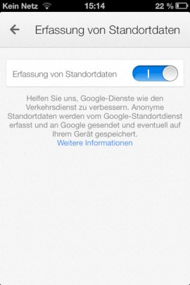 Google Maps iPhone Standorterfassung