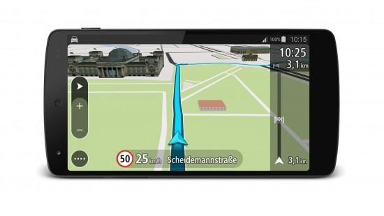 TomTom GO fuer Android_3D Navigationsansicht_Quer