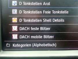 POI-Kategorien im VW Discover PRO