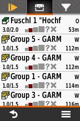Garmin eTrex Touch 35 Geocache Liste