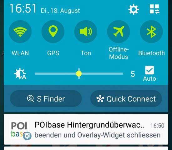 POIbase-Benachrichtigungsbildschirm