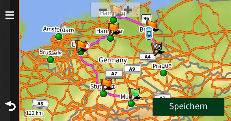 Garmin nüviCam Route auf Karte