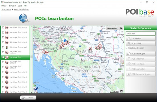 Kroatien-POIbase-Karte