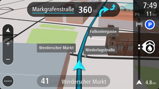 NaviKit_Fahrspurassistent_3D Gebäude_Markgrafenstraße