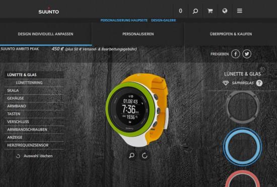 Suunto Ambit3 im Online-Konfigurator
