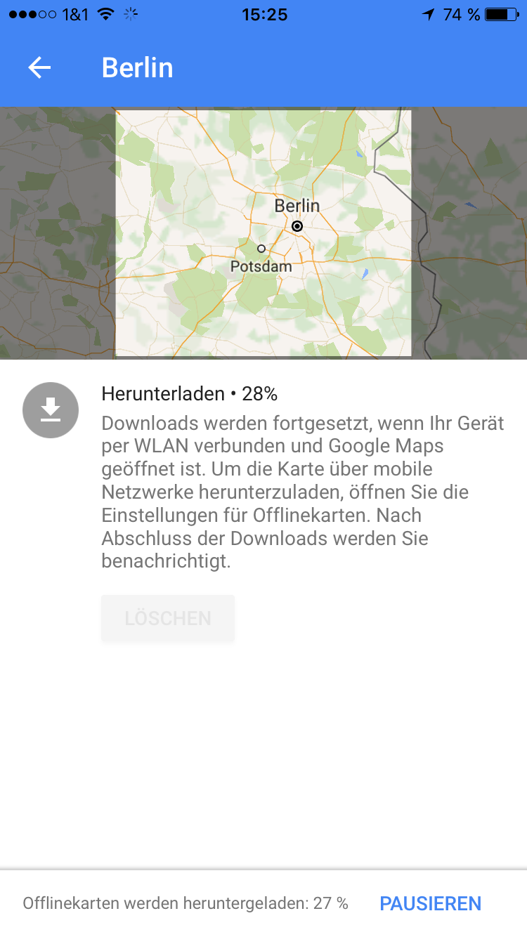 on ios google maps offline