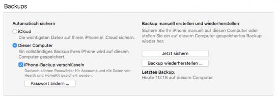 iTunes-iPhone-Verwaltung