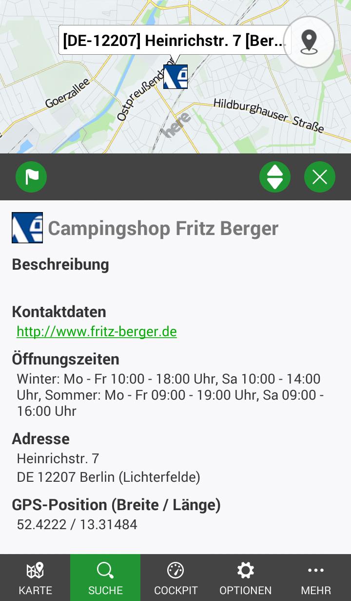 fritz berger campingshops bei poibase pocketnavigation. Black Bedroom Furniture Sets. Home Design Ideas