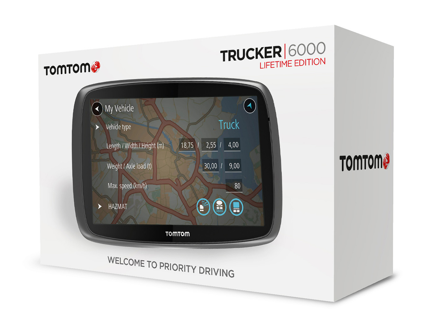 tomtom trucker 6000 gps satnav free lifetime uk eu maps live traffic cameras sustuu. Black Bedroom Furniture Sets. Home Design Ideas